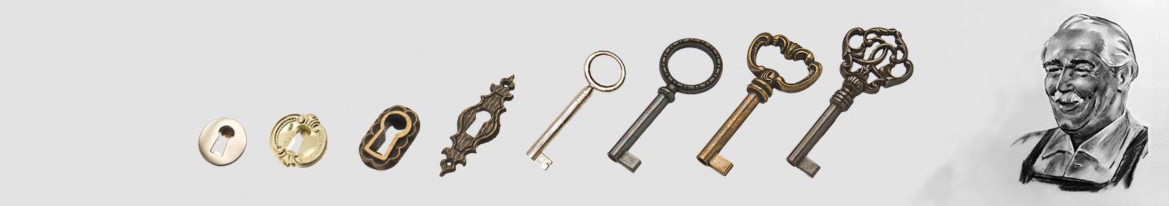 Das Bild zeigt ausgewählte Schlüssel der Firma Huwil